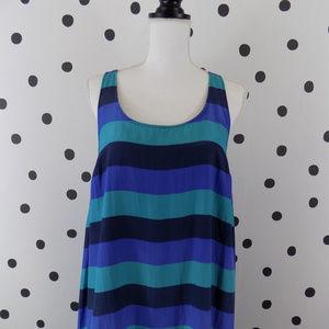 Halogen Nordstrom Trapeze Dress Silk Blue Stripe M